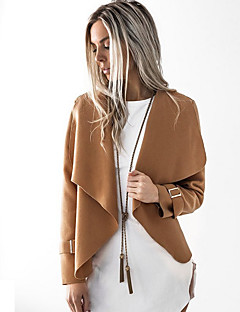 Women's Party Work Vintage Street chic Winter Fall Trench Coat,Solid Shirt Collar Long Sleeve Regular Cotton Acrylic