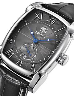 Herrn Modeuhr Armbanduhr Einzigartige kreative Uhr Japanisch Quartz Kalender Echtes Leder Band Luxus Freizeit Cool Schwarz