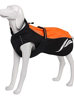 billiga Hundkläder-Hund Kappor Regnjacka Reflexband Hundkläder Enfärgad Orange Gul Svart Vattentätt Material Nylon Kostym För husdjur Fest Ledigt/vardag