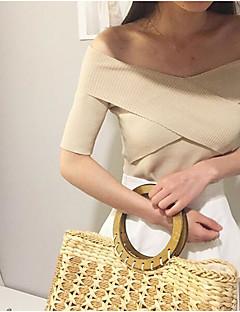 tanie Swetry damskie-Damskie Z odsłoniętymi ramionami Pulower Jendolity kolor Krótki rękaw