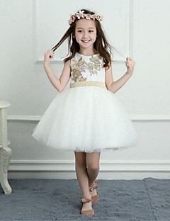 cheap Flower Girl Dresses-A-Line Short / Mini Flower Girl Dress - Satin Tulle Sleeveless Jewel Neck with Appliques Sash / Ribbon by LAN TING BRIDE®