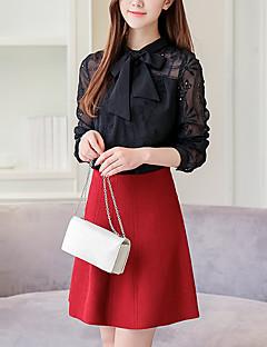Damen Solide Einfach Aktiv Ausgehen Lässig/Alltäglich Hemd,Rundhalsausschnitt Winter Langarm Baumwolle