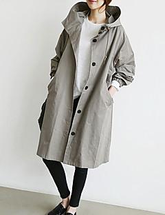 Damen Solide Einfach Retro Street Schick Ausgehen Lässig/Alltäglich Trench Coat,Mit Kapuze Herbst Winter Lange Ärmel Lang Baumwolle