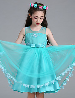 cheap Flower Girl Dresses-Ball Gown Princess Knee Length Flower Girl Dress - Mesh Satin Sleeveless Jewel Neck with Embroidery Ribbon Tie by Bflower