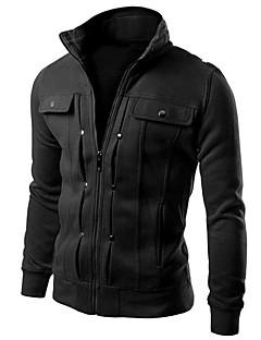 Χαμηλού Κόστους -Ανδρικά Μακρυμάνικο Ενεργό Λεπτό hoodie σακάκι - Μονόχρωμο Όρθιος Γιακάς