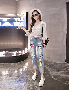 Women's Mid Rise Inelastic Loose Jeans Pants,Simple Loose Jeans Print