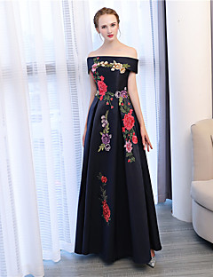 A-Line Off-the-shoulder Ankle Length Satin Satin Chiffon Formal Evening Dress with Embroidery by Embroidered Bridal