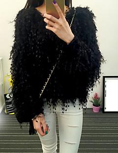 baratos Suéteres de Mulher-Mulheres Manga Longa Pêlo Sintético Pulôver - Sólido Pêlo Sintético / Outono