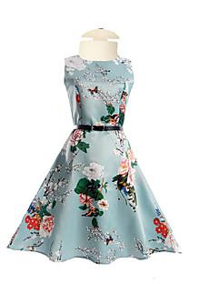 billige Pigekjoler-Pigens Kjole Daglig I-byen-tøj Ferie Ensfarvet Blomstret, Polyester Sommer Halvlange ærmer Blomster Blå
