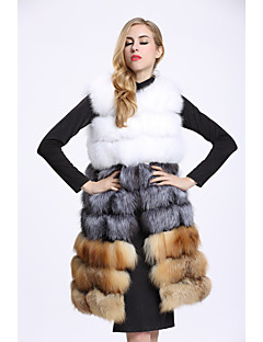 Women's Daily Sophisticated Winter Vest,Color Block Round Neck Long Fox Fur