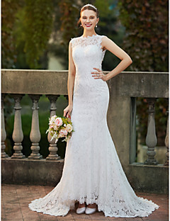 cheap Plus Size Wedding Dresses-Mermaid / Trumpet High Neck Sweep / Brush Train Stretch Satin All Over Lace Wedding Dress with Appliques Lace by LAN TING BRIDE®