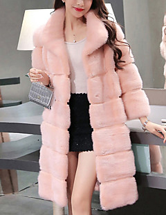 Women's Going out Simple Fall Winter Fur Coat,Solid Round Neck Long Sleeve Regular Polyester Fur Trim