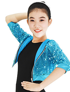 cheap Jazz Dance Wear-Jazz Sequins Tops Women's Performance Nylon Stretch Satin Sequined Paillette 3/4 Length Sleeves High Top