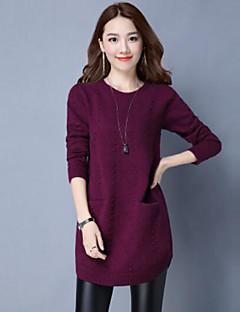 baratos Suéteres de Mulher-Mulheres Manga Longa Algodão Longo Pulôver - Sólido Algodão