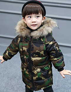 Boys' Camouflage Down & Cotton Padded Winter Long Sleeve Army Green