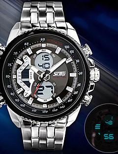 billige Rustfrit stål-SKMEI Herre Digital Armbåndsur Afslappet Ur Rustfrit stål Bånd Vedhæng Kjoleur Mode Sølv