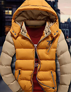 Men's Padded Coat,Simple Casual/Daily Solid-Others Polypropylene Long Sleeves