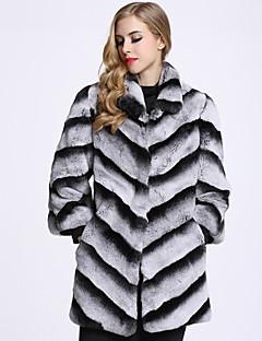 Feminino Casaco de Pêlo Casual Sofisticado Inverno,Estampa Colorida Longo Pêlo de Coelho Colarinho de Camisa