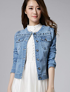 Women's Casual/Daily Simple Fall Denim Jacket,Solid Round Neck Long Sleeve Short Cotton