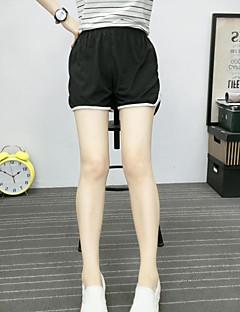 レディース シンプル ミッドライズ ワイドレッグ マイクロエラスティック ショーツ パンツ ソリッド