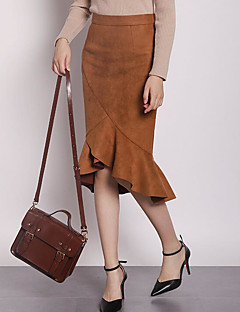 Women's Daily Midi Skirts A Line Polyester Solid Fall
