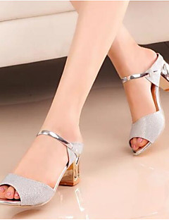 cheap -Women's Shoes Glitter / Nubuck leather Spring / Fall Basic Pump Sandals Block Heel for Gold / Silver