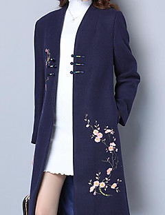Damen Blumenmuster Chinoiserie Lässig/Alltäglich Trench Coat,Ständer Winter Herbst Langärmelige Lang Wolle Polyester