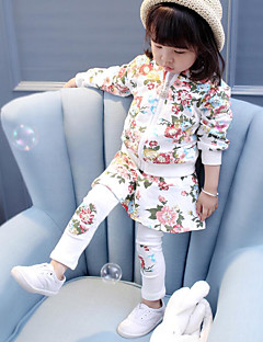 Girls' Floral Sets,Cotton Spandex Fall Winter Clothing Set