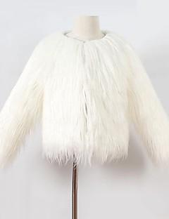 tanie Odzież dla dziewczynek-Kurtka / płaszcz Sztuczne futro Specjalny rodzaj futra Dla dziewczynek Jendolity kolor Zima Długi rękaw White Black