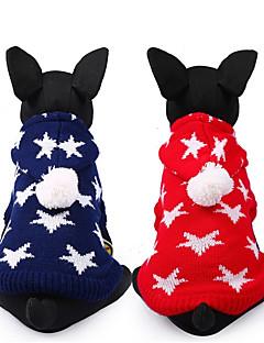 billiga Hundkläder-Hund Tröjor Hundkläder Stjärnor Röd Blå Chinlon Kostym För husdjur Ledigt/vardag