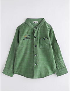 billige Overdele til drenge-Drenge Skjorte Ensfarvet, Bomuld Efterår Langærmet Army Grøn