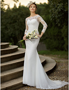 cheap Wedding Dresses-Mermaid / Trumpet Off Shoulder Sweep / Brush Train Chiffon / Corded Lace Made-To-Measure Wedding Dresses with Appliques / Ruched by LAN TING BRIDE® / Illusion Sleeve / See-Through / Beautiful Back