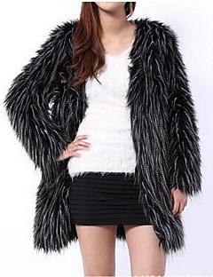 billiga Dampälsar och läder-Enfärgad Fur Coat Dam V-hals