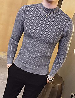 Men's Daily Casual Regular Pullover,Solid Crew Neck Long Sleeves Cotton Winter Fall Medium Stretchy