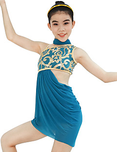 Ballet Outfits Women's Children's Performance Elastic Lycra Pleated Paillette Sleeveless High Dresses Neckwear Headpieces Shorts