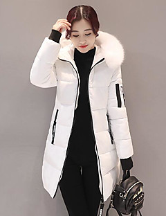 Women's Down Coat,Street chic Going out Solid-Polyester Polypropylene Long Sleeves