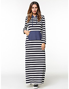 cheap Women's Dresses-Women's Going out Loose Shift Dress - Solid Colored Striped Maxi