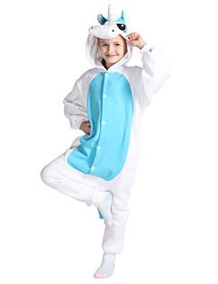 Kigurumi-pyjama's Unicorn Onesie Pyjama  Kostuum Fleece blauw Cosplay Voor Kind Dieren nachtkleding spotprent Halloween Festival /