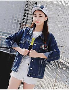 Women's Daily Cute Fall Denim Jacket,Solid Print Shirt Collar Long Sleeve Regular Cotton