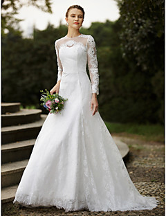 A-Line Jewel Neck Sweep / Brush Train Lace Wedding Dress with Beading Appliques Buttons by LAN TING BRIDE®