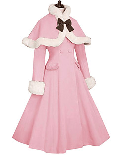 Winter Sweet Lolita Cape Coat Princess Coat Cosplay Pink Black Blue Red Fuschia Long Sleeves