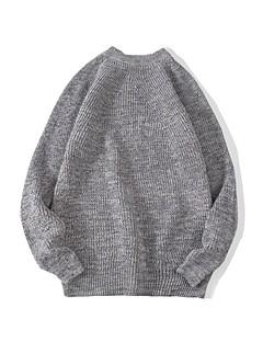 tanie Męskie swetry i swetry rozpinane-Męskie Praca Okrągły dekolt Pulower Jendolity kolor