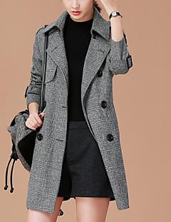 Damen Solide Einfach Lässig/Alltäglich Trench Coat,Ständer Herbst Standard Andere