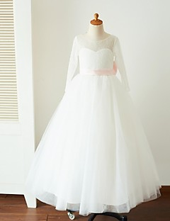 cheap Communion Dresses-Ball Gown Floor Length Flower Girl Dress - Lace Tulle Long Sleeves Jewel Neck with Bow(s) Sash / Ribbon by LAN TING Express