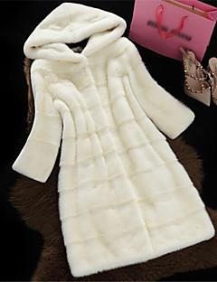 レディース フォーマルイブニング 洗礼式 カジュアル/普段着 バレンタイン 新年 冬 ファーコート,エレガント・豪華 フード付き 純色 ロング フェイクファー 長袖 ファートリム