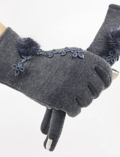 Women's Rabbit Fur Corduroy Wrist Length Fingertips,Winter Gloves Windproof Keep Warm Solid Winter