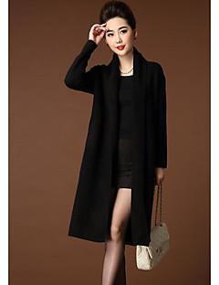 cheap Women's Sweaters-Women's Long Sleeves Long Cardigan - Solid Boat Neck