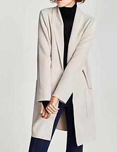 Damen Solide Street Schick Ausgehen Lässig/Alltäglich Trench Coat,Steigendes Revers Herbst Winter Lang Polyester