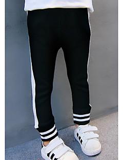 billige Bukser og leggings til piger-Pige Bukser Striper,Bomuld Efterår Sort Grå