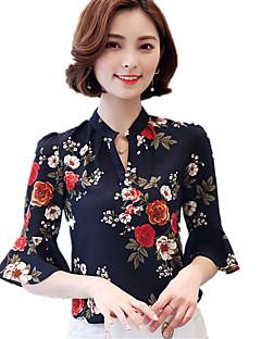 Polyester Medium Halvlange ermer,V-hals Bluse Blomstret Trykt mønster Sommer Vintage Bohem Arbeid Plusstørrelser Dame